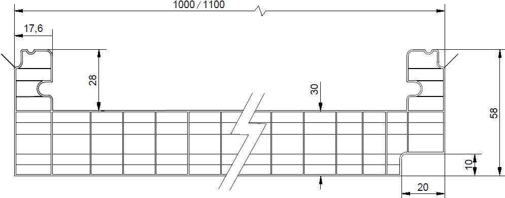 DANPALON Panel Translúcido Policarbonato perfil dimensiones