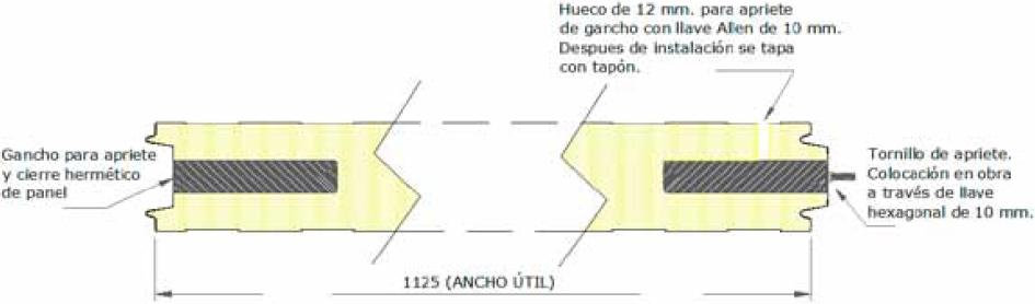 PANEL SÁNDWICH FRIGORÍFICO ISOTERM 1125 HOOK esquema montaje